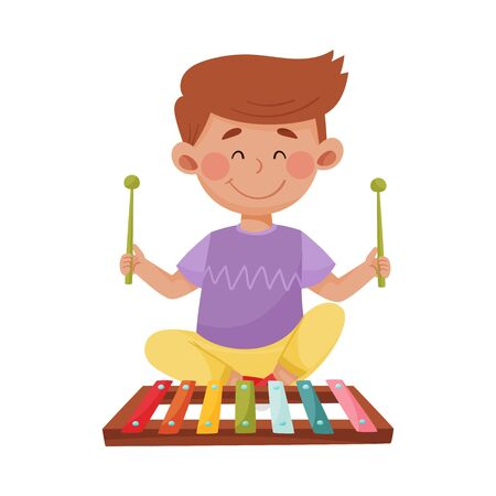 Little Boy Holding Sticks Playing Xylophone Vector Illustration. Smiling Kid Performing Music