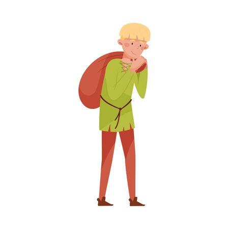 Medieval Peasant Carrying Sack on His Back Vector Illustration. Male Character in Middle Ages Ilustración de vector