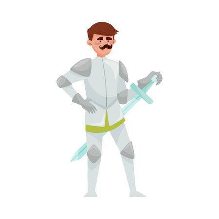 Knight in Iron Armour Suit and Sharp Sword Vector Illustration. Medieval Man Character with Moustache in Heavy Harness Vetores