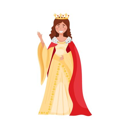 Young Princess with Golden Crown Standing and Waving Hand Vector Illustration