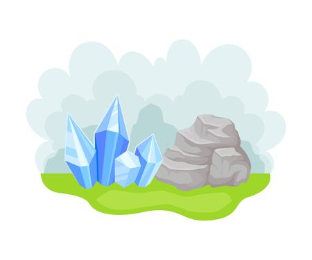 Minerals and Native Crystals as Natural Resource Vector Illustration Çizim