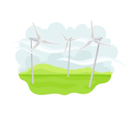 Wind-driven Generators on Green Field as Natural Resource for Mechanical Energy Production Vector Illustration