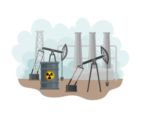 Station for Oil Extraction as Natural Resource Vector Illustration