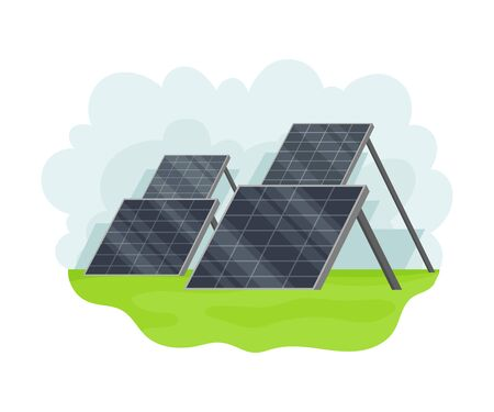 Solar Cell Battery as Natural Resource Vector Illustration Çizim