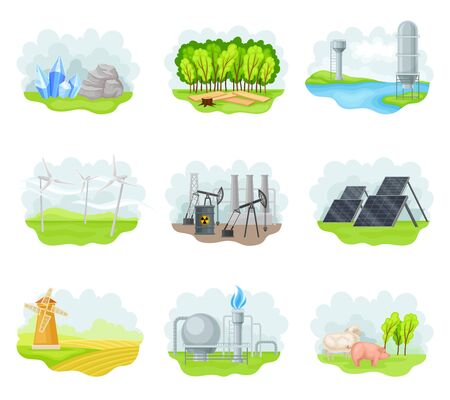 Natural Resources with Natural Gas Extraction Plant and Domestic Livestock Breeding Vector Set Illustration