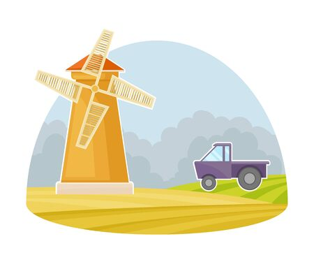 Windmill on the Field as Natural Resource and Agricultural Machine for Grinding Vector Illustration Çizim