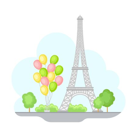 Paris Street View with Eiffel Tower and Bunch of Balloons Vector Illustration