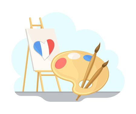 Drawing Easel with France Flag Colored Heart and Palette Vector Set Illustration