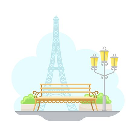 Paris Street View with Eiffel Tower and Bench Vector Illustration Illustration