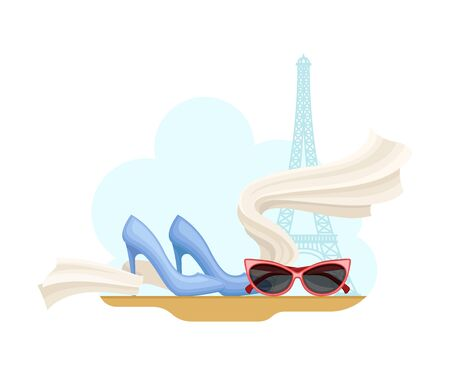 Paris Street View with Eiffel Tower and Clothing Items Vector Illustration
