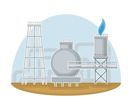 Station for Natural Gas Extraction as Natural Resource Vector Illustration