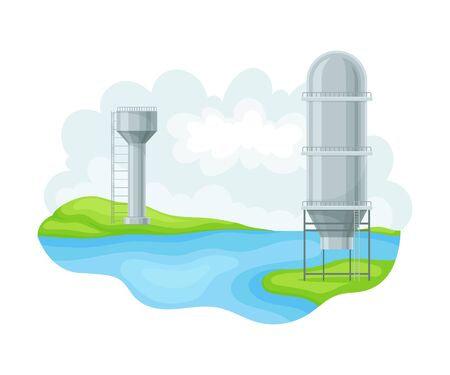Hydroelectric Power Station as Natural Resource Vector Illustration Çizim