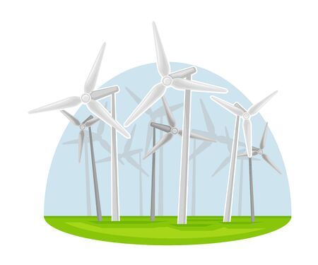 Wind-driven Generator as Natural Resource for Mechanical Energy Production Vector Illustration