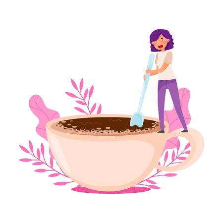 Young Woman with Purple Hair Standing on the Edge of Huge Coffee Cup and Stirring with Floral Backdrop Vector Illustration