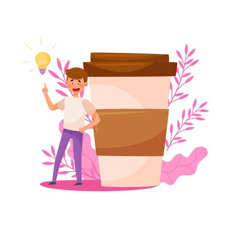 Young Man Character Standing Near Huge Coffee Cup with Floral Backdrop Vector Illustration