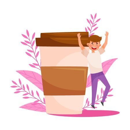 Young Man Character Jumping with Joy Near Huge Coffee Cup with Floral Backdrop Vector Illustration Illustration