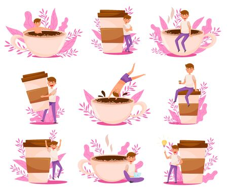 Young Man Character and Huge Coffee Cup with Floral Backdrop Vector Illustrations Set