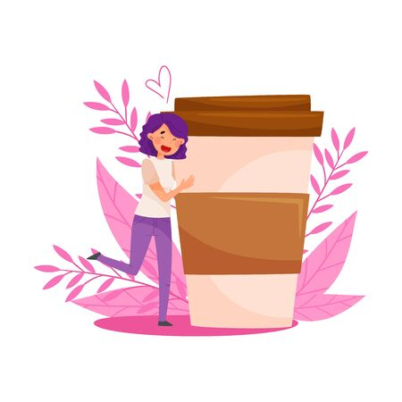Purple Haired Girl Standing Near Huge Coffee Cup and Floral Backdrop Vector Illustration