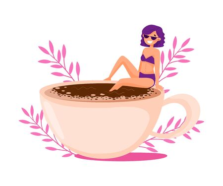 Purple Haired Girl in Swimsuit Sitting on the Edge of Huge Coffee Cup with Floral Backdrop Vector Illustration Illustration