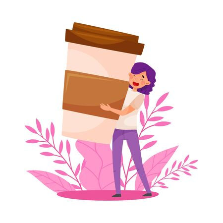 Purple Haired Woman Carrying Huge Coffee Cup and Floral Backdrop Vector Illustration
