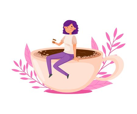 Purple Haired Girl Sitting on the Edge of Huge Coffee Cup with Floral Backdrop Vector Illustration