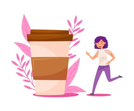 Young Woman with Purple Hair Running Towards the Huge Coffee Cup with Floral Backdrop Vector Illustration Illustration