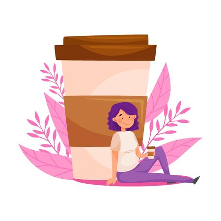 Purple Haired Woman Sitting Near Huge Coffee Cup and Floral Backdrop Vector Illustration