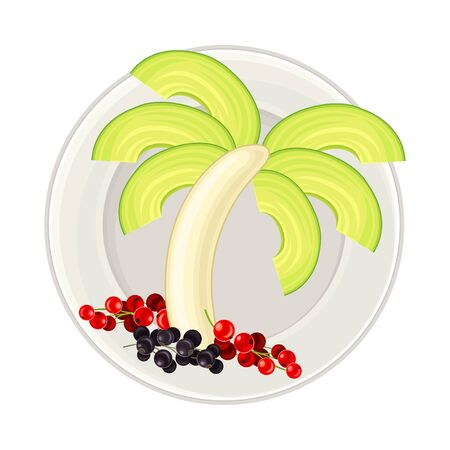 Sliced Avocado and Banana Arranged in the Shape of Palm Tree Above View Vector Illustration