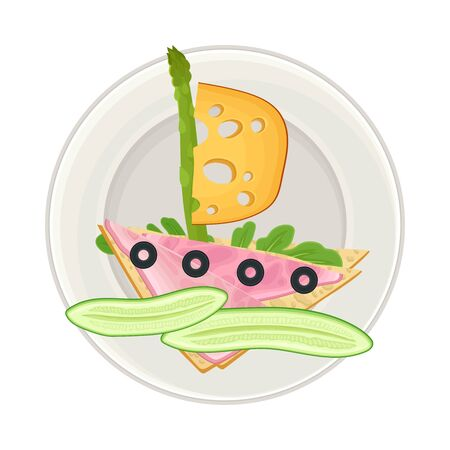 Sandwich with Foodstuff Arranged in the Shape of Ship on Plate Above View Vector Illustration Ilustração
