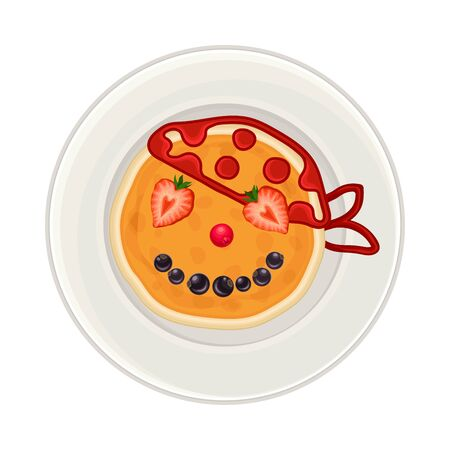 Pancake with Berries and Jam Arranged in the Shape of Pirate Face on Plate Above View Vector Illustration