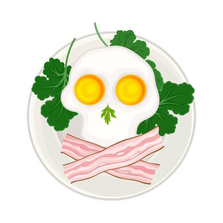 Scrambled Egg and Sliced Bacon Arranged in the Shape of Skull and Cross Bones Above View Vector Illustration