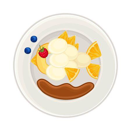 Fruity Foodstuff Arranged in the Shape of Fish on Plate Above View Vector Illustration Ilustração