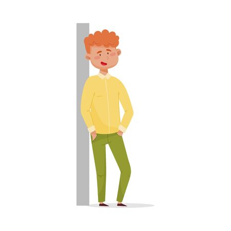 Red-haired Man Leaning Against the Wall and Smiling Vector Illustration Çizim