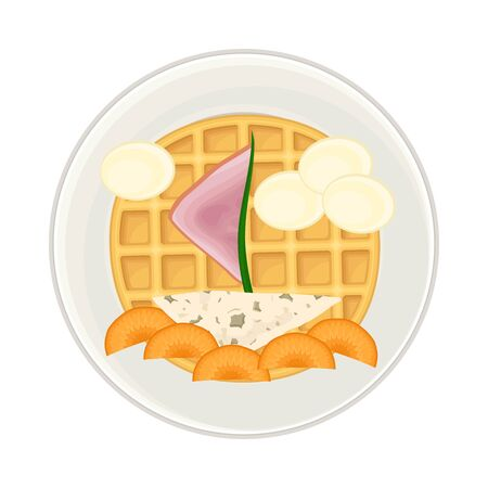 Foodstuff Arranged in the Shape of Ship on Plate Above View Vector Illustration. Funny Pirate Dish Serving and Plating for Children Concept Ilustração