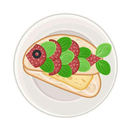 Foodstuff Arranged in the Shape of Fish on Plate Above View Vector Illustration. Funny Pirate Dish Serving and Plating for Children Concept