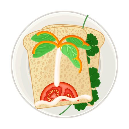 Foodstuff Arranged in the Shape of Island with Palm Tree on Plate Above View Vector Illustration