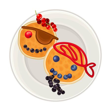 Pancakes with Berries and Jam Arranged in the Shape of Pirate Faces on Plate Above View Vector Illustration