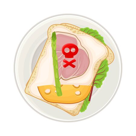 Foodstuff Arranged in the Shape of Ship on Plate Above View Vector Illustration