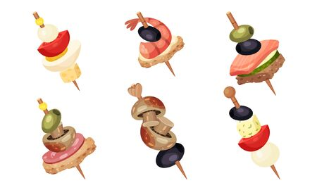 Canape Snacks with Seafood and Mushrooms Skewered on Wooden Sticks Vector Set. Fresh Food for Catering and Banquet Menu Concept