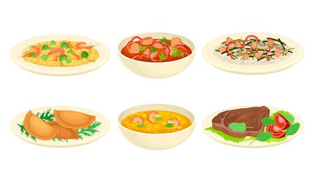 Dishes with Meat and Seafood with Vegetables Vector Set