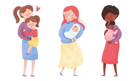 Happy Mothers Cuddling Their Kids Holding with Arms Vector Set Vectores