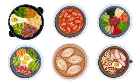 Asian Food with Noodle Soup and Bibimbap Dish Served with Vegetables Vector Set