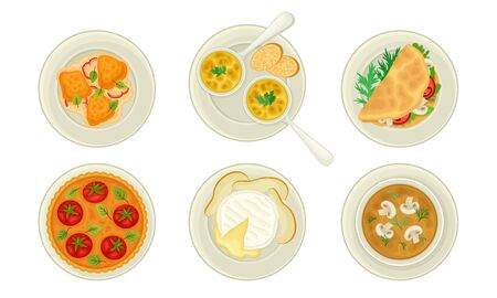 French Starters and Main Courses with Mushroom Cream Soup and Julienne Dish Vector Set