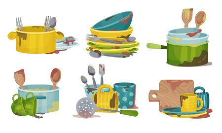 Stack of Dirty Kitchen Utensil and Dinnerware with Plates and Spoons Vector Set Ilustración de vector
