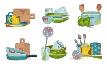 Stack of Dirty Kitchen Utensil and Dinnerware with Plates and Spoons Vector Set
