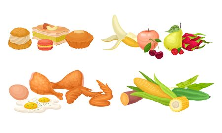 Food Compositions with Dessert, Fruits and Vegetables Vector Set