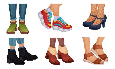 Legs in Different Footwear with High Heeled Shoes and Autumn Boots Vector Set