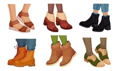 Legs in Different Footwear with Sandals and Autumn Boots Vector Set Illustration