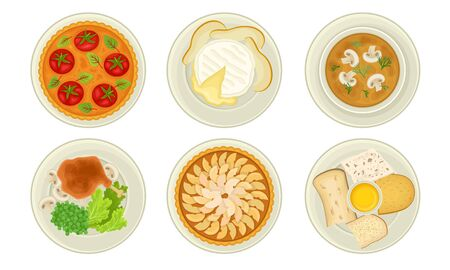 French Starters and Main Courses with Mushroom Cream Soup and Cheese Plate Vector Set Ilustração Vetorial
