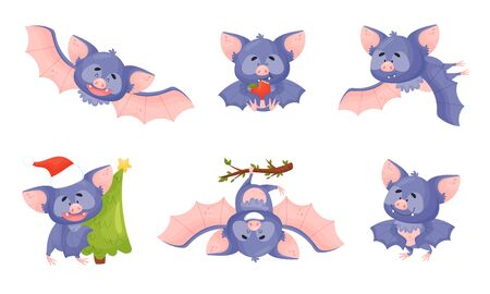 Funny Bat with Membranous Wings Flying and Carrying Fir Tree Vector Set